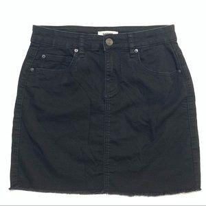 Garage Distressed Mini Black Jean Skirt